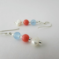 Pearl, Blue Quartzite & Pink Coral Earrings. Sterling Silver Hooks