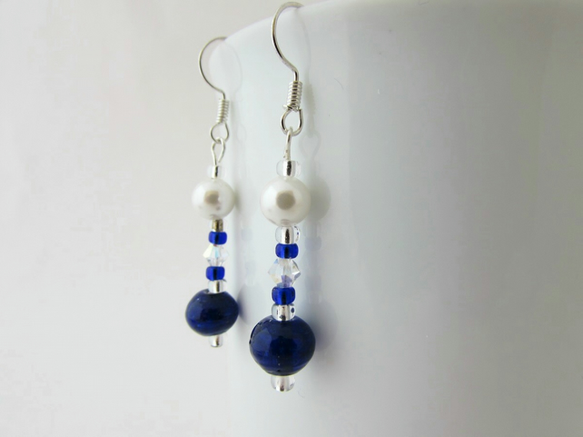 50% off all items with code SALE17 Dark Blue & Pearl Earrings, Blue Earrings,