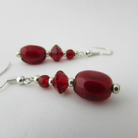 Red Glass Bead Earrings - E Red Jewellery, Red Jewelry, Christmas, Valentine