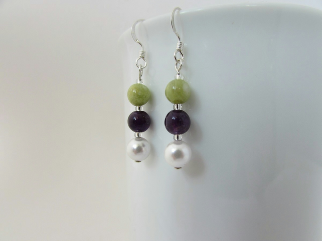 Receive 50% off with code SALE17 Peridot, Pearl, Amethyst & Silver Earrings