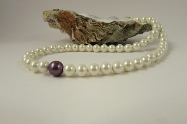 SALE Pearl Necklace, Cream Pearl & Sterling Silver Neckace, Pearl Necklace