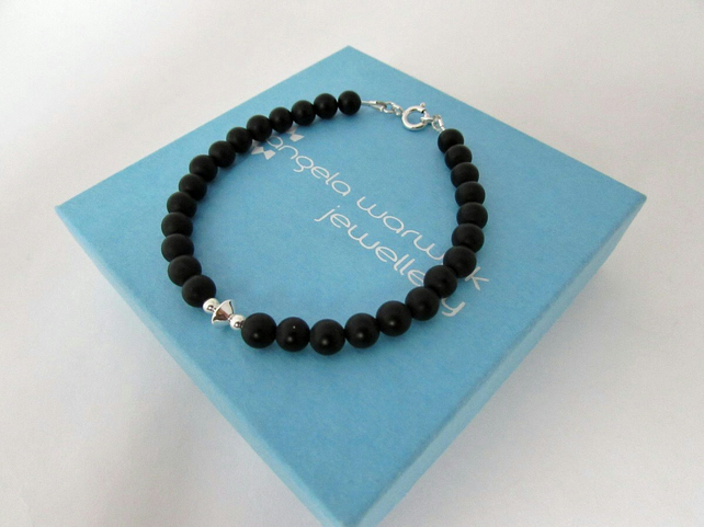 Receive 50% off with code SALE17 Black Onyx & Sterling Silver Bracelet, Onyx