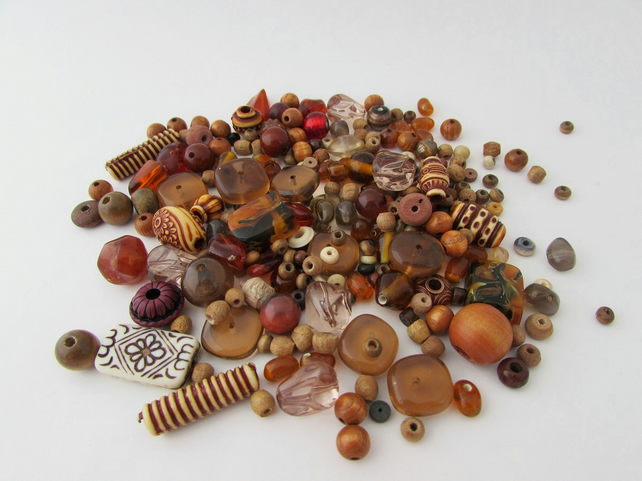 Receive 50% off with code SALE17 Brown Beads. Mixed bag of Brown Beads