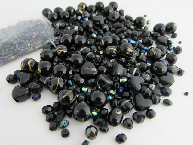 Receive 50% off with code SALE17 Black Beads. Mixed bag of Black Beads