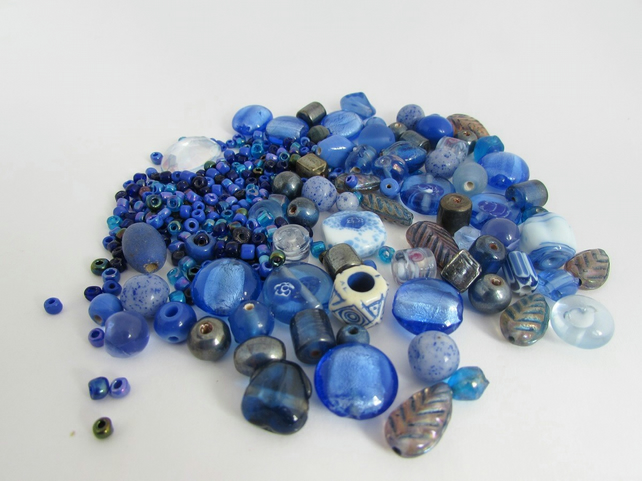 Receive 50% off with code SALE17 Blue Beads. Mixed bag of Blue Beads