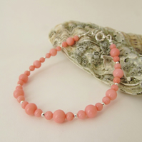 Coral Bracelet. 35th Anniversary Gift, Coral & Silver Bracelet, Coral, 7.75 inch