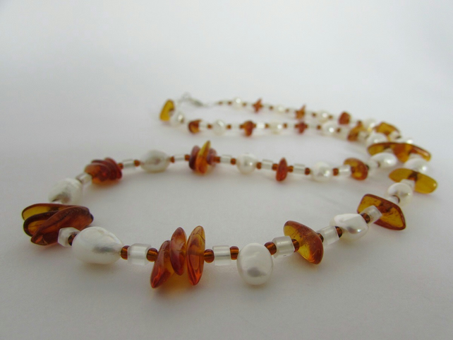 Baltic Amber, Freshwater Pearl & Sterling Silver Necklace, Amber Necklace