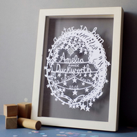 Starry Moon New Baby Paper cut