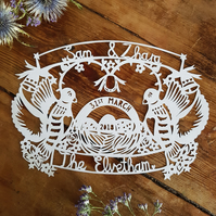 Love Birds Wedding Paper Cut