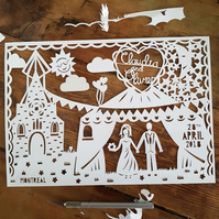 Church Wedding Paper Cut