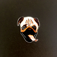 Pug brooch. Handmade doggy brooch by Outlaws and Skeletons