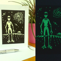 Glow in the Dark Alien Card