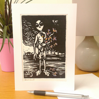 Alien with Bouquet Lino Print Card