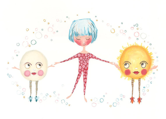 Bubble Dancers Girl, Moon and Sun print