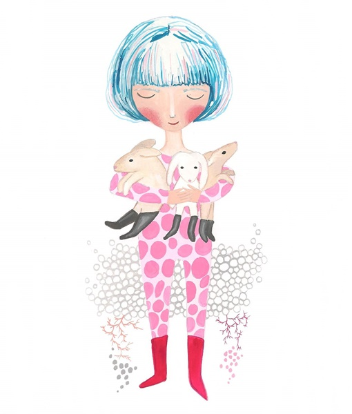 Blue hair girl and a bundle of bunnies print inches nursery art