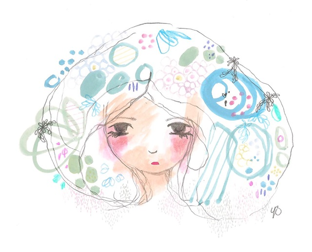 Rain girl a4 print abstract blue