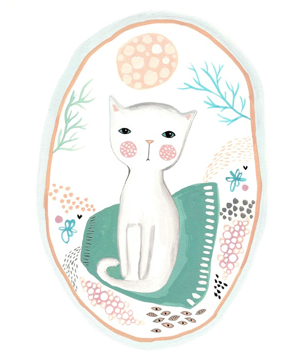 White cat print cute kitten painting art