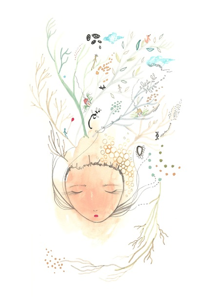 Tree print branches girl art drawing
