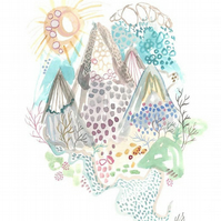 Mountains watercolour art print