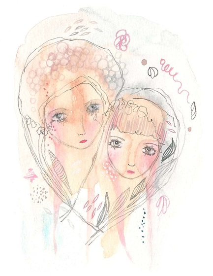Mother and daughter print art painting