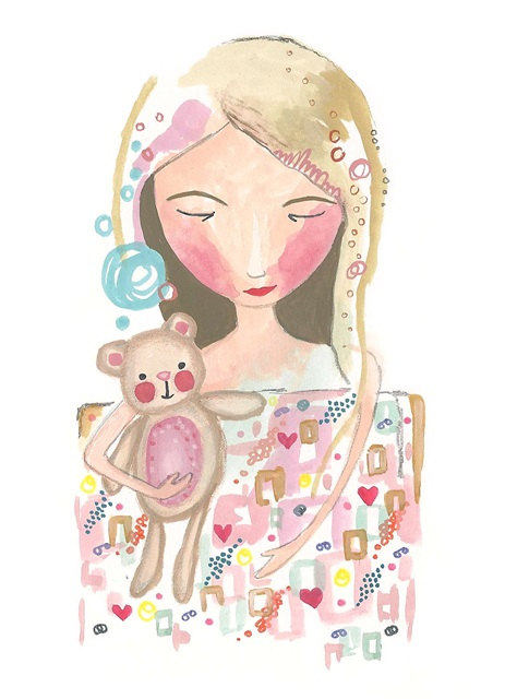 Sweet dreams sleeping girl and teddy art print