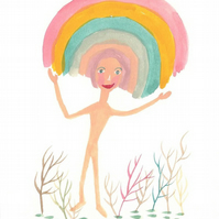 Happy rainbow sprite art print cute funny
