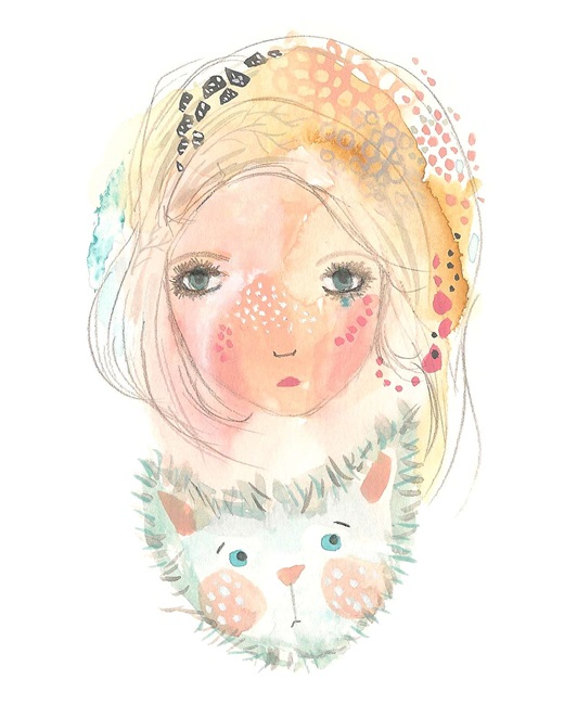 Girl and cat toy love print cute nursery art A4