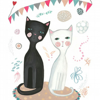 Black and white cats love print cute nursery art