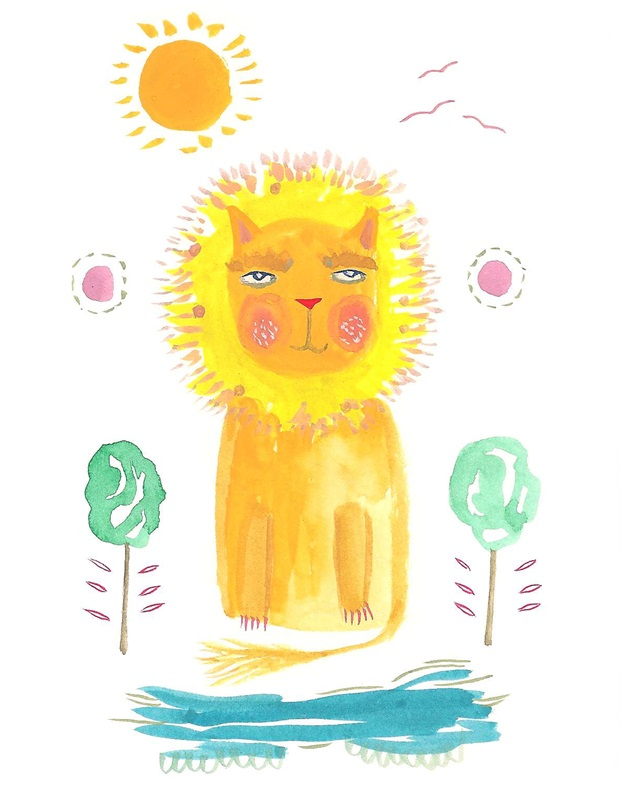 Lion print cute nursery art A4