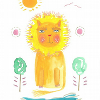 Lion print cute nursery art 5 x 7 inch