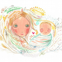 Mother and son child baby print art painting
