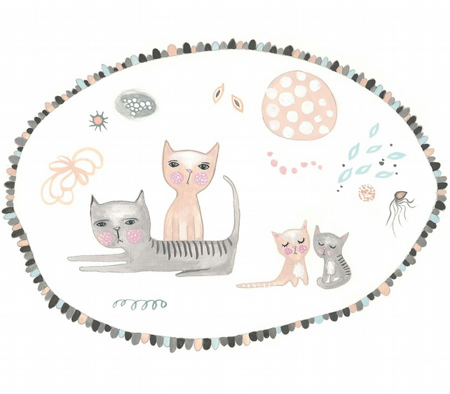 Cat family print cute nursery art 5 x 7 inches