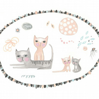 Cat family print cute nursery art A4