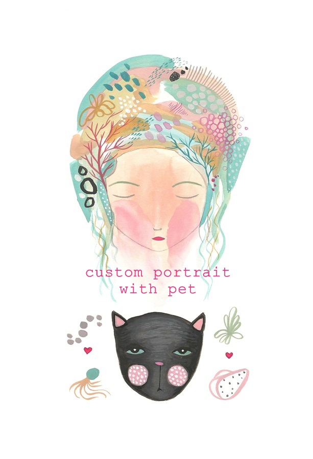 Original A4 custom portrait with pet