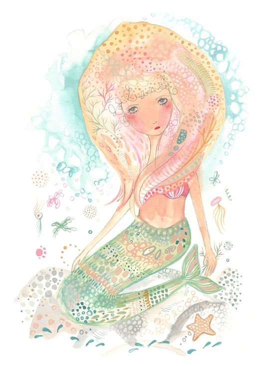 Mermaid art print wall decor