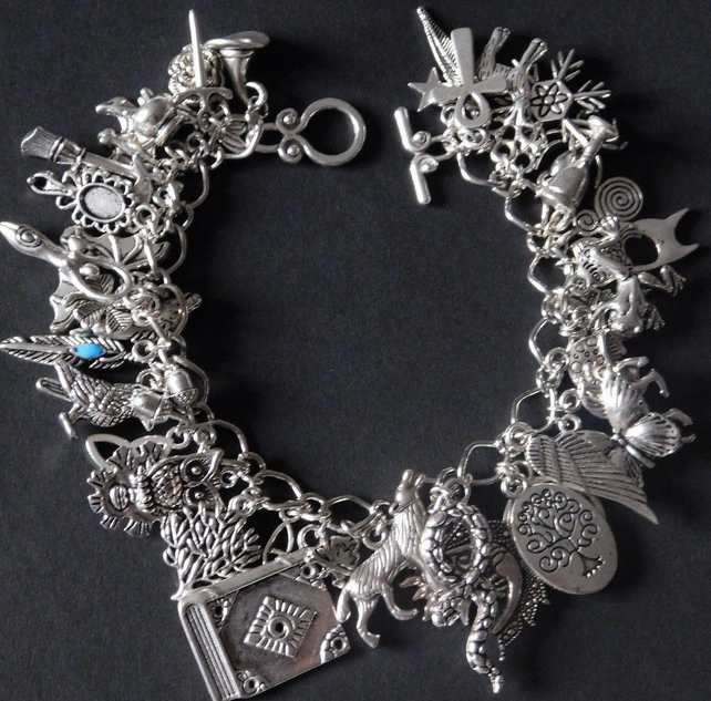 Pagan Wicca Charm Bracelet - Fully Loaded - 46 charms - Sanguine Rose Designs