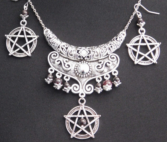 Pagan Wicca Garnet Pentagram Priestess Necklace Set - Sanguine Rose Designs