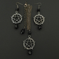 Gothic Gunmetal Pentagram Pentacle Necklace & Earrings Set