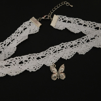Butterfly White Scallop Crochet Lace Choker Necklace Pagan Wicca Boho
