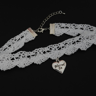 Blessed Be Heart White Scallop Crochet Lace Choker Necklace Pagan Wicca Boho