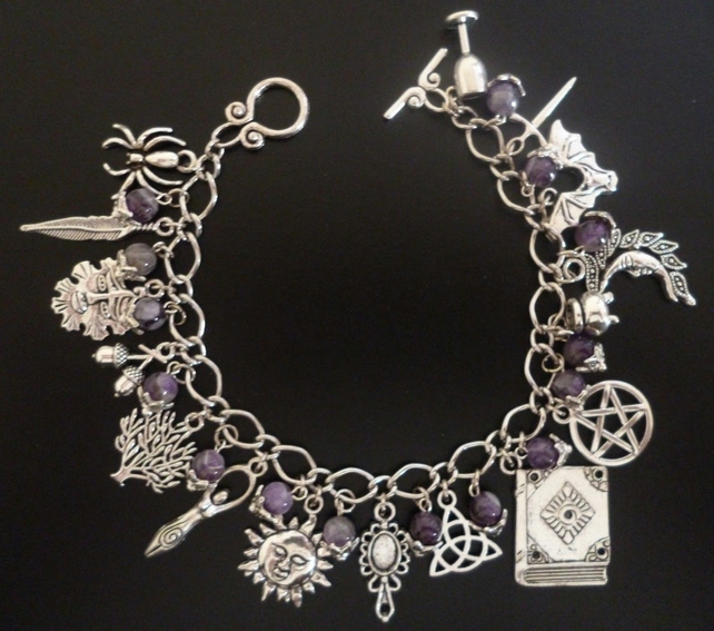Pagan Wicca Amethyst Silver Charm Bracelet Various Lengths Spider Feather