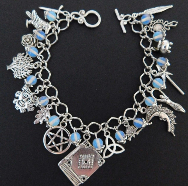 Pagan Wicca Moonstone Silver Charm
