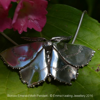 Sterling Silver Brooch: Sussex Emerald Moth