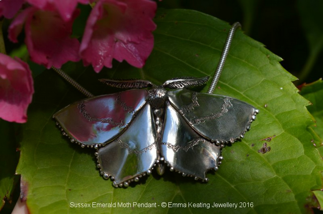 Sterling Silver Necklace: Sussex Emerald Moth