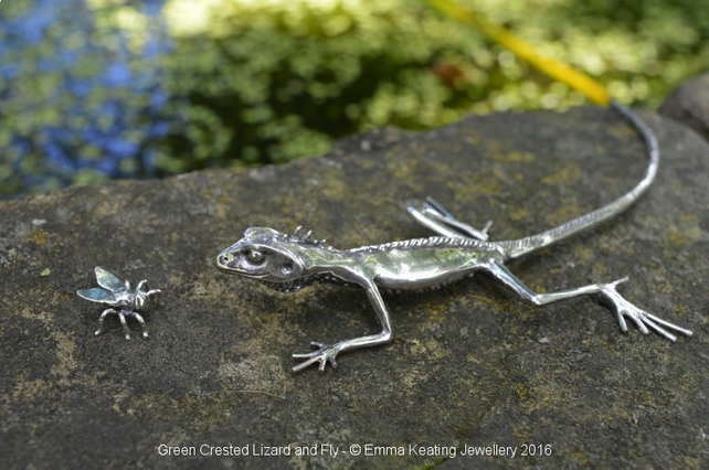 Sterling Silver Ornament: Green Crested Lizard and Fly