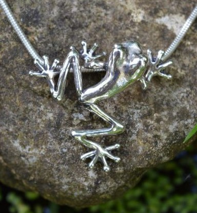 Sterling Silver Pendant: Tree Frog  - small