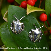 Sterling Silver Earrings - Pair: Shieldbug