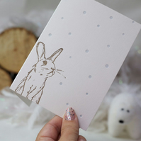 Christmas Card Letterpress Bunny in the Snow