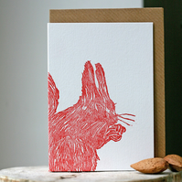 Red Squirrel Lino Print Card