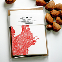 Red Squirrel Lino Print - Pack of 5 Cards